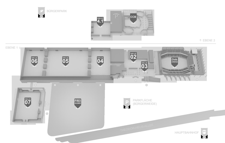 Hallenplan Aussteller/Besucher 2021 mit Freigelände